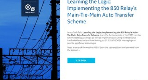 FAQ: Implementing the 850 Relay's Main-Tie-Main Auto Transfer Scheme
