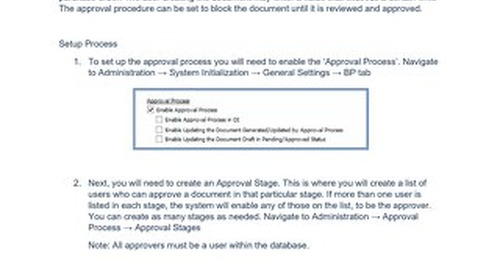 SBO Approval Process | SAP Business One