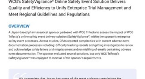 WCG Trifecta Partners with Major Japanese Pharmaceutical Sponsor to Unify the Management of Safety Records and Increase Compliance