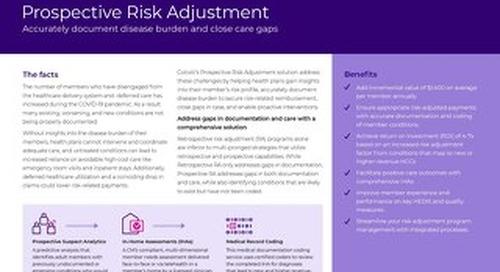 Prospective Risk Adjustment solution