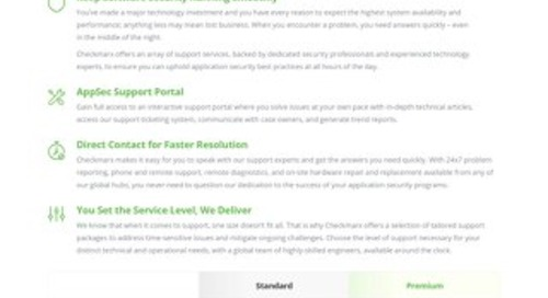 Checkmarx Premium Support Packages Datasheet