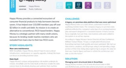 Happy Money Transforms Consumer Lending With Huge Performance Gains on Snowflake's Data Cloud