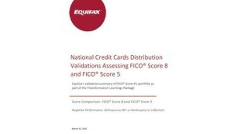 Equifax Distributions Chart - FICO 5 vs FICO 8 - Generic Canada National Credit Card Trades