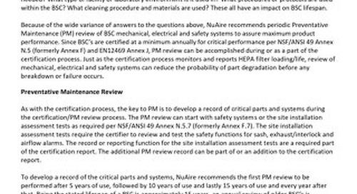 [Bulletin] Biosafety Cabinet Preventive Maintenance
