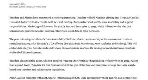 Teradata's sentient enterprise strategy gets boost with Alation partnership