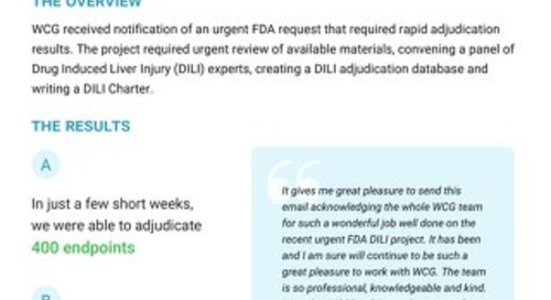 See How WCG Helped a Mid-tier Biopharma Respond to an Urgent FDA Request, and Adjudicate 400 Endpoints in Just a Few Short Weeks