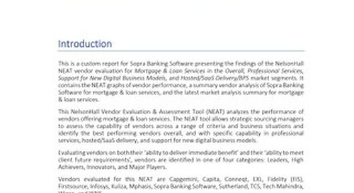 Neat Evaluation for Sopra Banking Software: Mortgage & Loan Services