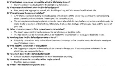 Silo Safety System FAQ Doc
