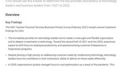 Business Priorities of Financial Services IT and Business Leaders From 1Q21 to 2022