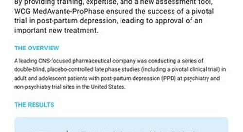 Post-Partum Depression Case Study: WCG Services for CNS Trials
