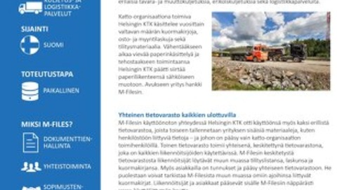 Tapauskuvaus: Helsingin KTK Oy