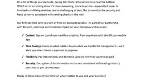 AP Email Template: What happens when you outsource billpay
