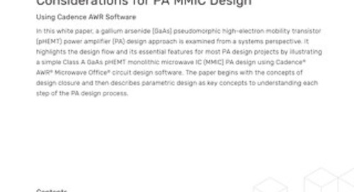 RF/Microwave EDA Software Design Flow Considerations for PA MMIC Design
