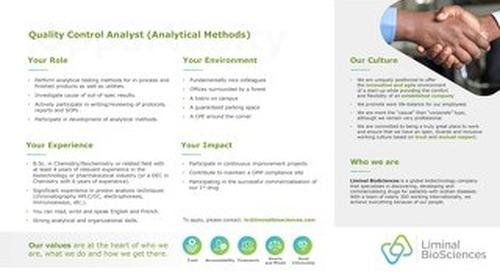 Analyst, Quality Control