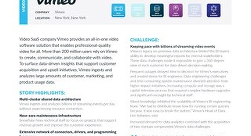 How Vimeo Leverages BIllions of Streaming Events to Generate Customer Insights with Snowflake