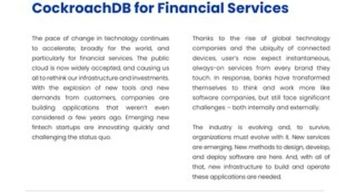 CockroachDB & Finance