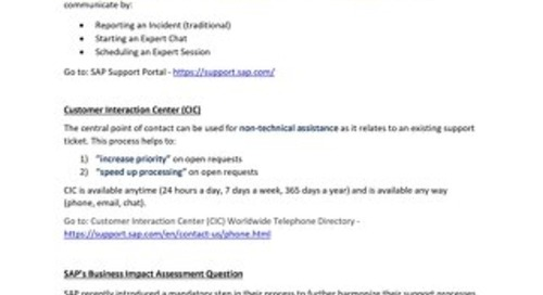 SAP Support and Business Impact Assessment