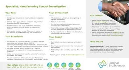Specialist, Manufacturing Control Investigation