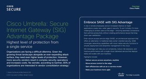 Cisco Umbrella- Secure Internet Gateway (SIG) Advantage Package
