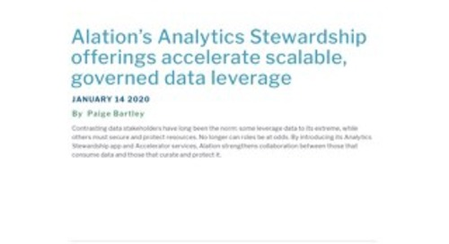 Alation's Analytics Stewardship offerings accelerate scalable, governed data leverage