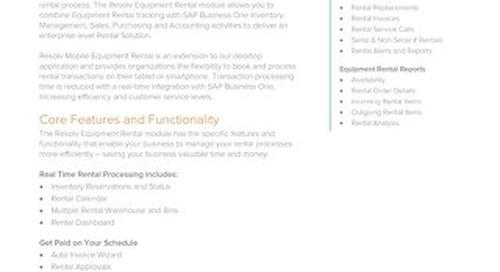 Equipment Rental - Resolv Module Overview