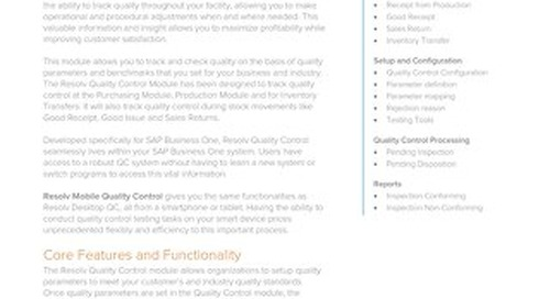 Quality Control | Resolv Module Overview