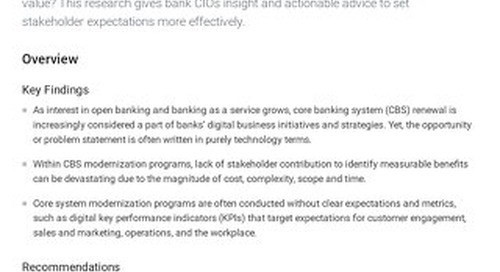 Building the Digital Business Case for Core Banking System Renewal