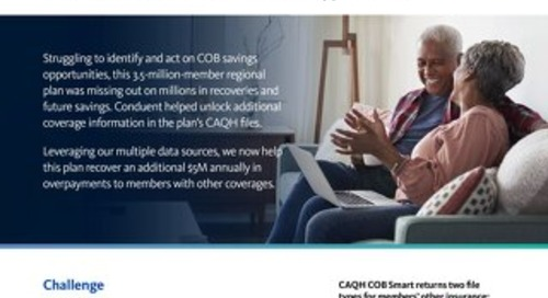 Helping a major health plan leverage CAQH COB Smart files to recover millions through previously unidentified Coordination of Benefits oppor