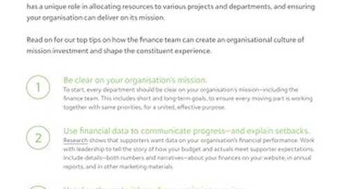 Tip Sheet: Six Ways Your Nonprofit Finance Team Can Shape the Constituent Experience