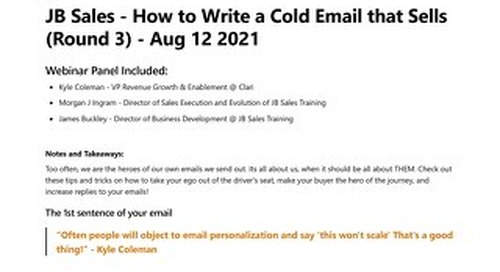 JB Sales - How to Write a Cold Email that Sells (Round 3) - Aug 12 2021