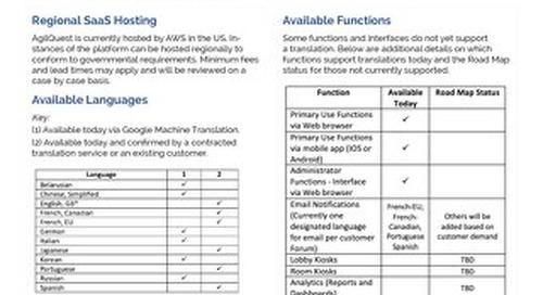 AgilQuest Global Functionality Fact Sheet