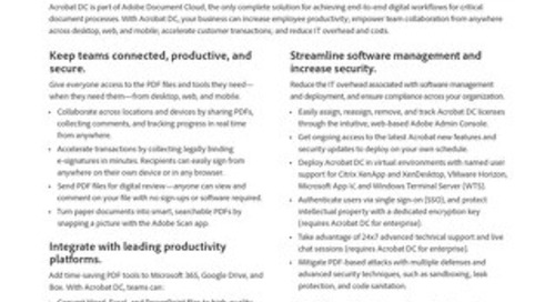 Adobe Acrobat Why Upgrade to Adobe Acrobat DC Solution Brief
