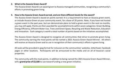 2021 Associa Green Award FAQs