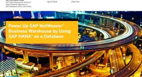 Power Up SAP NetWeaver Business Warehouse by Using SAP HANA as a Database