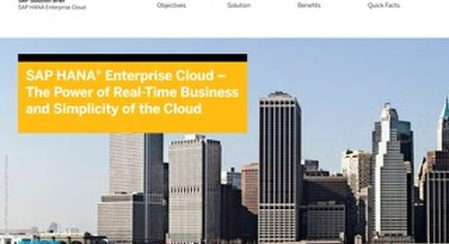 SAP HANA Enterprise Cloud - The Power Of The Real-Time Business and Simplicity of the Cloud