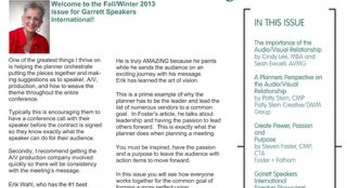 Garrett Speakers Fall/Winter 2013 Newsletter