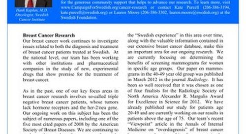 Kaplan Cancer Research Fund Update - Winter 2013