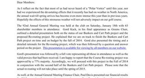President's Letter ~ March 2014