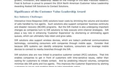 Frost and Sullivan Analyst Report - Customer Value in Hosted IVR