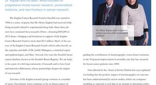 Kaplan Cancer Research Fund Update - Summer 2014