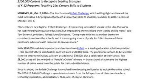 News Release: Fourth Annual Follett Challenge to Launch Monday