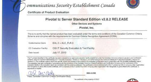 Pivotal's tc Server Gains Common Criteria Certification; Opens Doors for Federal, Defense, State and Local Agencies to Purchase