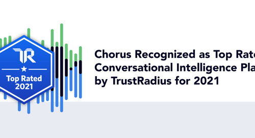 Chorus Recognized as Top Rated Conversational Intelligence Platform by TrustRadius for 2021