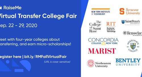 Join RaiseMe's Virtual Transfer Fairs: September 2020