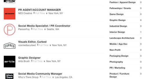 New Design Milk Job Board Listings from fuseproject, JGMA, Michele Varian + The Citizenry