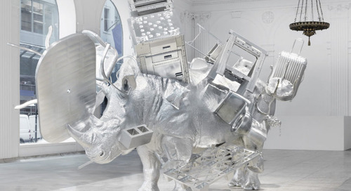 Urs Fischer's Aluminum Rhinoceros Baffles Midtown Manhattan