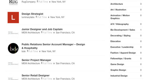 New Design Milk Job Board Listings from MEM Architecture, The Rug Company and Brendan Ravenhill