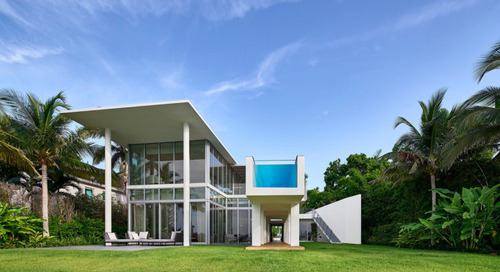 A Waterfront Home on Biscayne Bay with a Dramatic Cantilevered Pool