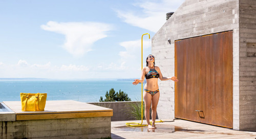 A Minimalist Outdoor Shower by Tarantik & Egger