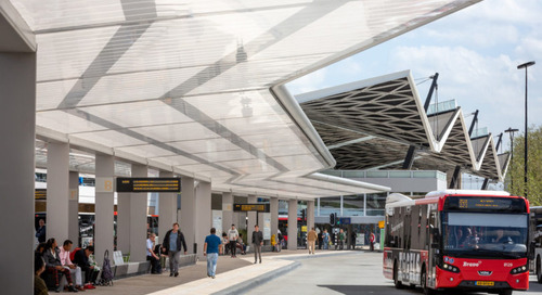 A Bus Station Awning by Day, Solar Powered Lighting Element at Night